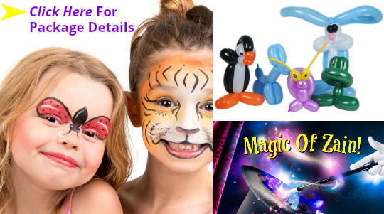 children's birthday party entertainment with magicians and face paint