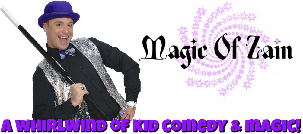 purple performer magician for birthday party with magic wand