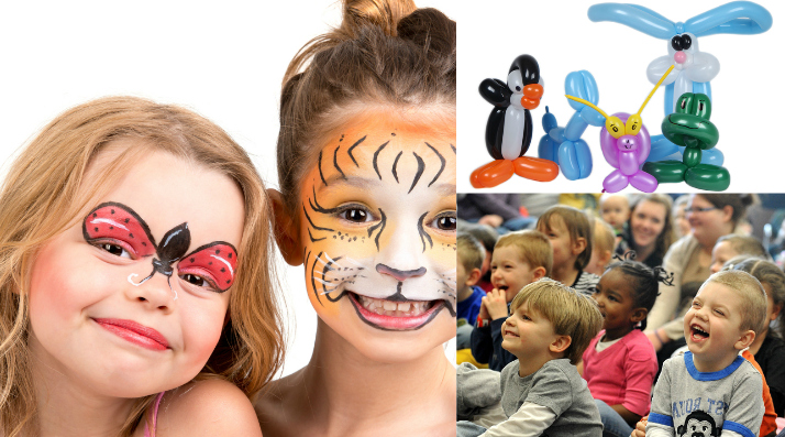 children with face paint smiling balloon animals magic show