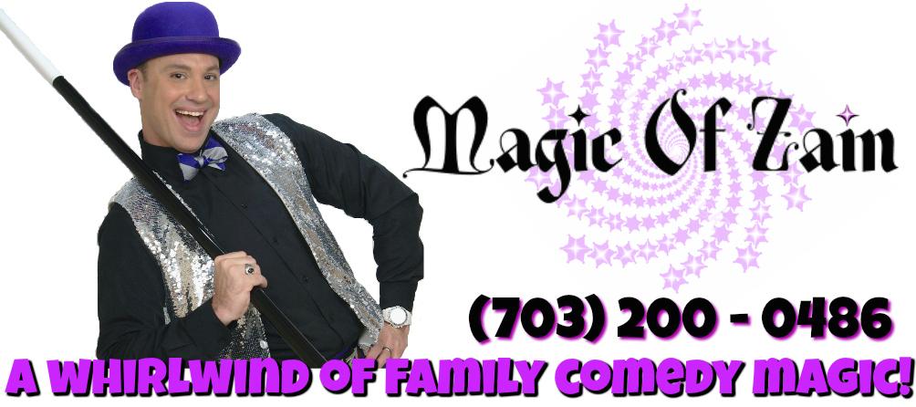birthday party magician zain with magic trick wand logo