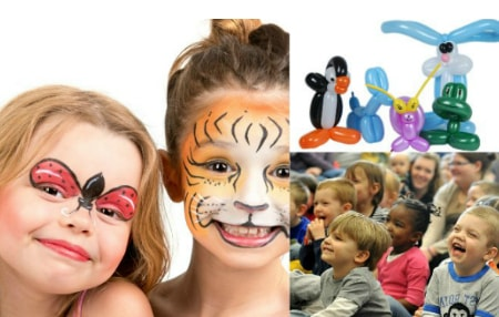 balloons, face paint, kids birthday party entertainment