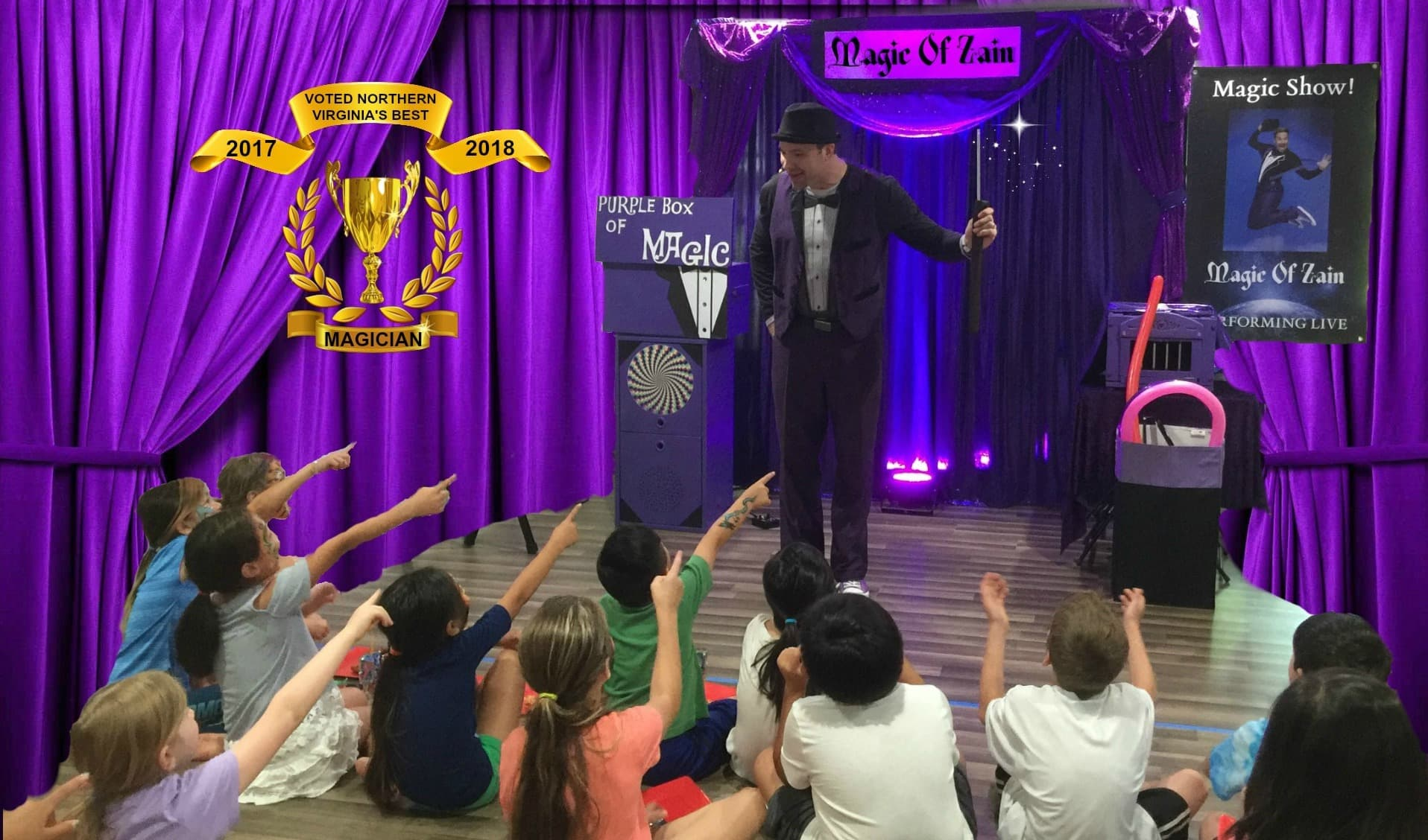 birthday magician performing kids magic show